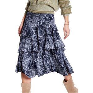 Free People Kiss Me Baby Print Ruffle Midi Skirt